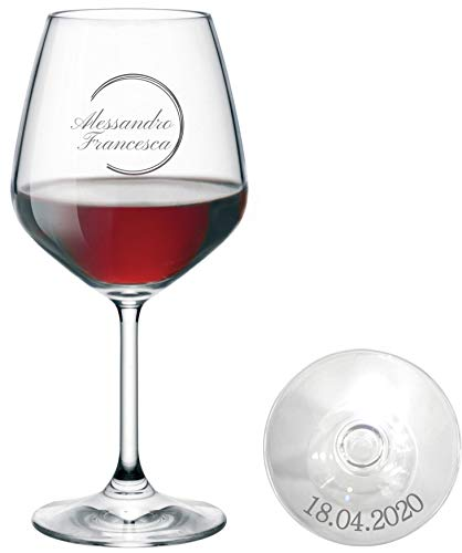 MASTERLASER3.0 Bicchiere da Vino Personalizzato - Calice da Vino Rosso Inciso - Personalizzabile con Due Nomi, Data e Caratteri Diversi