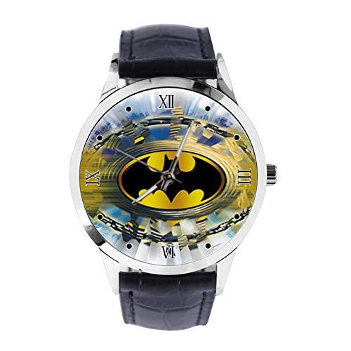 Reloj de pulsera analógico de cuarzo con diseño de Batman con logotipo personalizado y correa de piel para niñas y niños