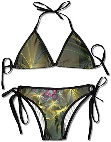 Bikini de espirales Ligeros Traje de baño de Verano para Mujer Bikini con Parte Superior Triangular Traje de baño Conjunto Sexy de 2 Piezas