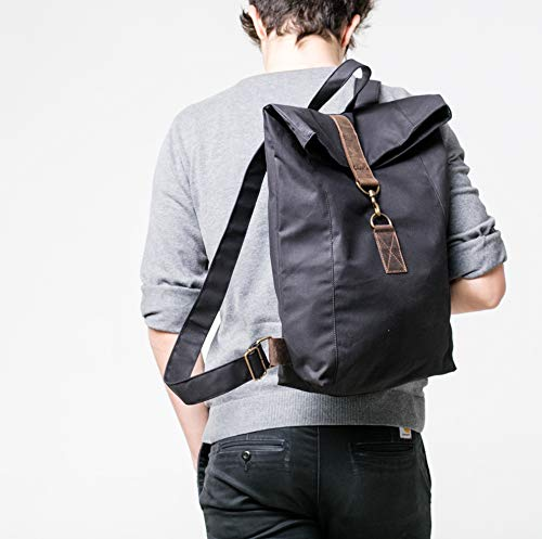 Schwarz Canvas Rucksack, wasserabweisend, Laptop Tasche, Reise Tasche, Uni Tasche, UNISEX,Alltagstasche,Damen Tasche, Herren Tasche, bag