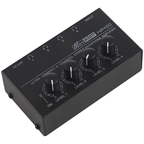 Nrpfell EU Enchufe, Ha400 Ultra-Compacto 4 Canales Audio Estéreo Amplificador De Auriculares con Adaptador De Corriente Negro