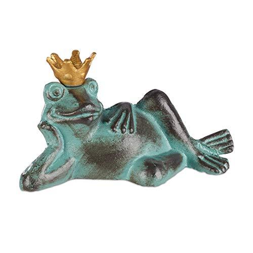 Relaxdays Gartenfigur Froschkönig, wetterfest, liegender Frosch, mit Krone, Dekofigur, Balkon, Gusseisen, Größe S, grün