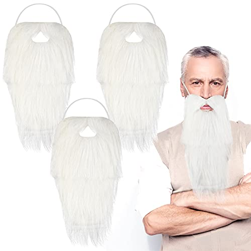 3 Pieces White Santa Costume Beard Long Halloween White Beard Fake Gnome Beard White Gnome Dwarf Beard for Christmas Halloween Cosplay Party Adult Kid Dress Costume Accessories