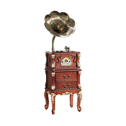 YWAWJ Retro Vintage Gramophone Big Horn Massivholzplattenspieler Plattenspieler mit Horn-Lautsprecher Gramophone Unterstützung Bluetooth-Wiedergabe Room Home Antique Vinyl-Plattenspieler