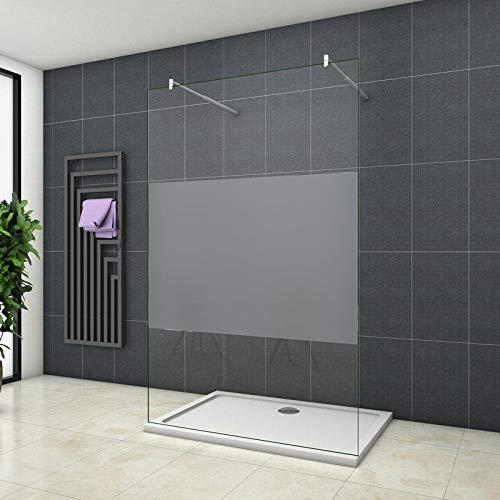 vrijstaande inloopdouche 70x200cm,douchewand, douchescherm,10mm midden gezandstraald veiligheidsglas met explosie bestendige folie,nano easyclean antikalk