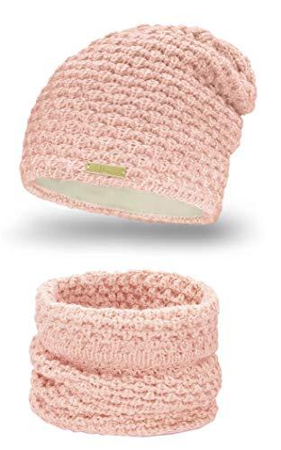 Mikos* Winter Kombi Set aus Winter Schal und passender Strickmütze/Beanie (690) (Rosa)