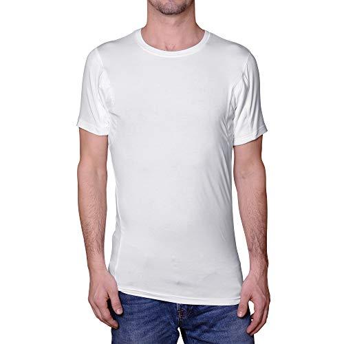 Camiseta interior antisudor para hombres, cuello redondo, color blanco, micromodal