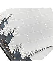 Blanco Pegatinas de Baldosas Azulejos adhesivos Pegatina de Pared, Azulejos de Gel, Blanco,para Baño y Cocina (10 Piezas)