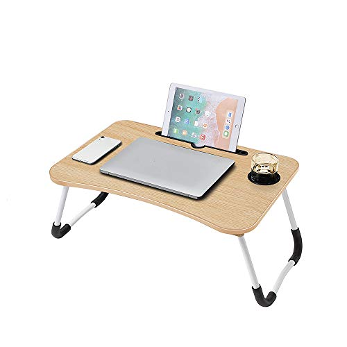 Lap Desk, Foldable Lap Desk Stand, Multifunction Lap Tablet with Cup Holder Perfect for Perfect for Watching Movie on…