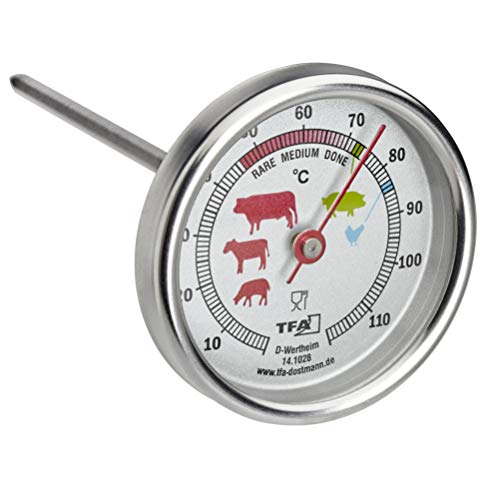 TFA Dostmann 14.1028 - Termometro analogico per arrosti, in acciaio INOX, ideale per carne, pesce, pollame, carne, carne, carne, carne, carne, arrosto, argento