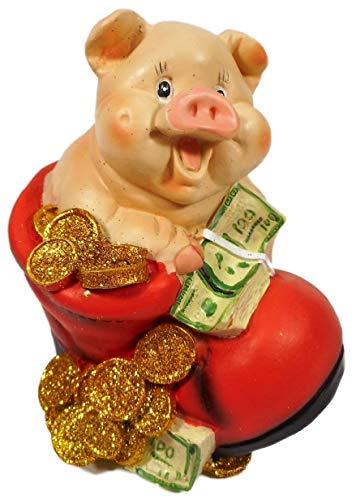 GIK Hucha con forma de cerdo con zapatos, 12 x 11 x 10 cm, hucha con forma de animales 2409 C