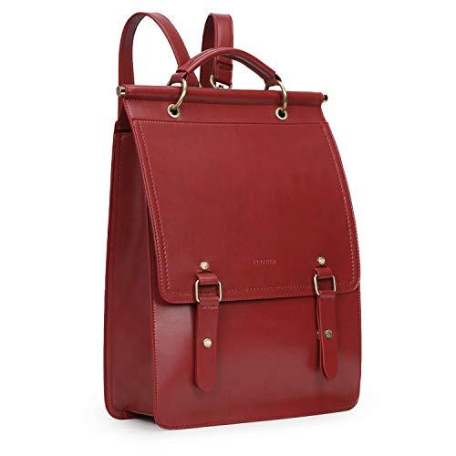 ECOSUSI Daypack Damen Rucksackhandtasche Schulrucksack Mädchen Leder Laptop Rucksack für 14,7 Zoll Anti Diebstahl mit Laptopfach Wasserabweisend Weinrot
