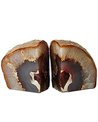 AMOYSTONE Natural Agate Bookends Pair for Home and Office Decor 6-8 lbs with Non-Slip mat