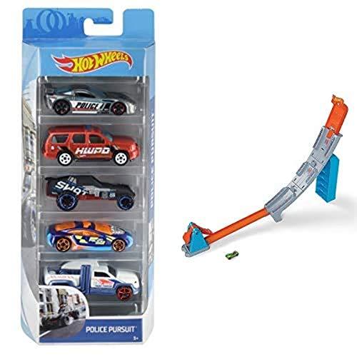 Hot Wheels 01806 5er Pack 1:64 Die-Cast Fahrzeuge Geschenkset, je 5 Spielzeugautos, zufällige Auswahl+GBF83 - Hill...