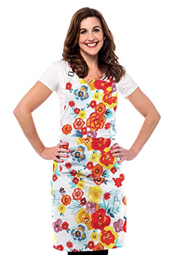 Ruvanti Chef Aprons for Women-100%Cotton Durable Kitchen Apron with Pockets,Plus Size Adjustable Neck Strap,Long Ties,Multi Color Flower Design Apron for Thanksgiving,Christmas,Cooking,Baking,Painting