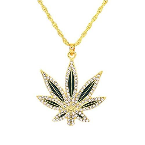 Collier, Hommes plaqué Or 18 carats Punk Hip Hop Grande Feuille d'érable Diamant Pendentif Collier Hommes chaîne en Argent Bijoux Cadeau (Or)