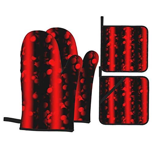 Vbanlya Wave Particles Quantum Physics - Juego de 4 manoplas de horno y agarraderas para ollas, antideslizantes, apto para cocina, cocina y horno resistente al calor