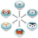 6 Pezzi Pomos de Cerámica para Armario Redondo Tiradores de Muebles Patrón de Animales de Dibujos Animados Perillas de Gabinete para Puertas, Armarios de Cocina, Cajones, la Habitación Infantil