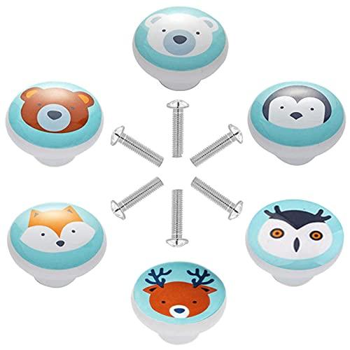 6 Pezzi Pomos de Cerámica para Armario Redondo Tiradores de Muebles Patrón de Animales de Dibujos Animados Perillas de Gabinete para Puertas, Armarios de Cocina, Cajones, la Habitación Infanti
