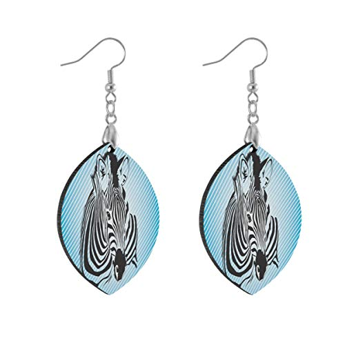 Earring for Women Leaf Zebras Blue Fashion Earrings Girls for Valentine's Day Double Layered Lightweight