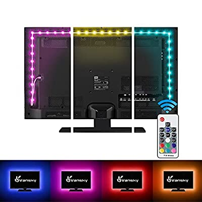 Vansky Bias Backlight Strip for HDTV USB LED Multi Color RGB Lights Neon Accent Lighting Kit for Flat Screen TV LCD, Desktop PC (20 Multi Colors Reduce eye fatigue and increase image clarity)