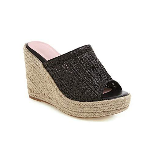 LIUJUN-WEI Sandalias de Cuña para Mujer, Sandalias de Punto de Paja Y Zapatillas, Peces de Moda Boca Super High Tacones (Color : B, Size : EU35)