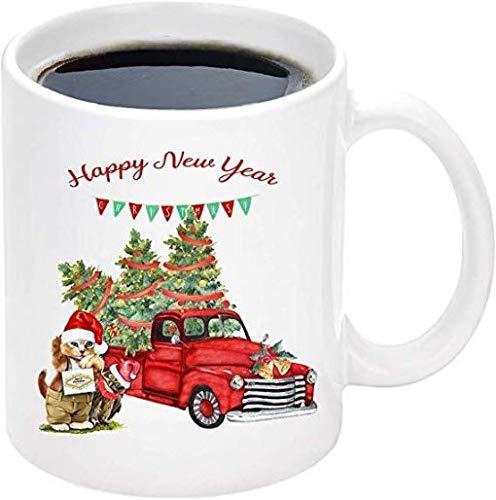 Taza de café de Navidad con texto en inglés 'Happy New Year'