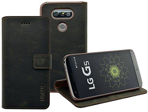 LG G5 | LG G5 SE | Suncase Book-Style (Slim-Fit) Ledertasche Leder Tasche Handytasche Schutzhülle Hülle Hülle (mit Standfunktion & Kartenfach) antik braun