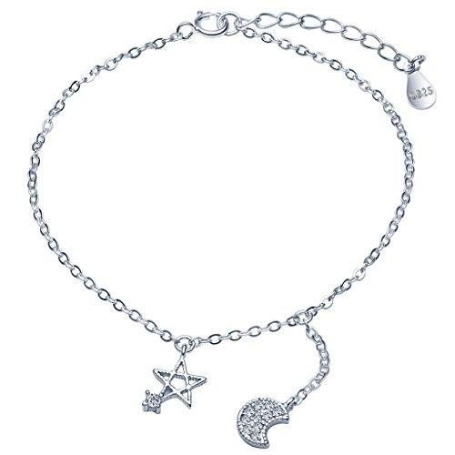 Unendlich U Elegant Damen Armband 925 Sterling Silber Zirkonia Stern Pentagramm Mond Armkette Verstellbar Charm Armkettchen Armreif, Silber