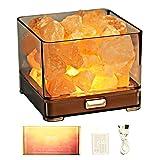HISUNY Crystal Natural Salt Lamp - Mini Desk Himalayan Salt Rock Dimming Smart Heating LED Gift Aroma Oil Lamp Spa Yoga Night Light BARI