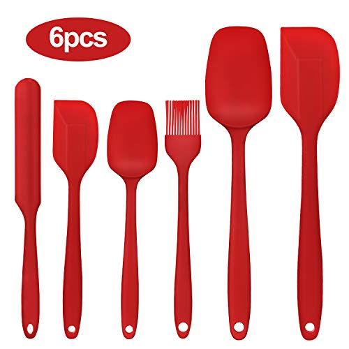 Kikc Espátulas de Silicona Paleta Utensilios Cocina, Protección del Medio Ambiente, Antiadherente, Resistente al Calor, Utensilios de Cocina para cocinar, Hornear y Mezclar 6 Piezas (Rojo)