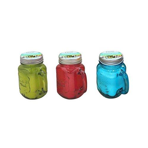 10 oz Citronella Candle Mason Jar - Green44; Red & Blue
