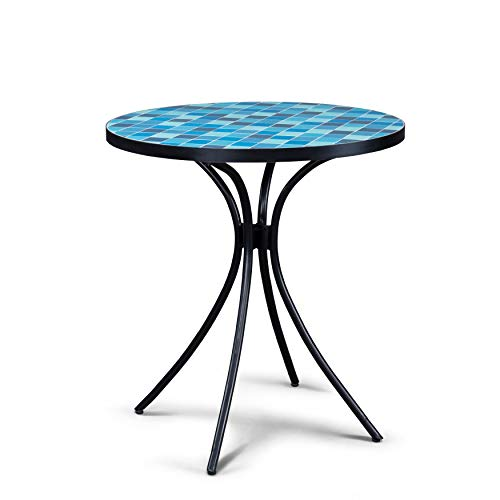 UKN Outdoor Blue Tile Top Bistro Table Black Modern Contemporary Round Metal Powder Coated Water Resistant