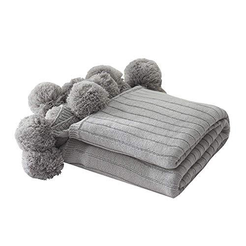 L&WB 100% katoenen gebreide deken, handgemaakt, knuffelzachte zachte sprei, Scandinavische mode, met haarbal, kinderbedbank