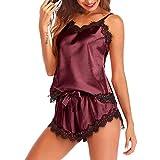 DOSN Pijama corto para mujer, sexy, de satén, de encaje, sin mangas, monocolor, con elástico, para casa vino 01 XL