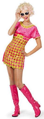 narrenkiste W4599-36-A pink-Gold Damen Disco Kleid Hippiekostüm Gr.36
