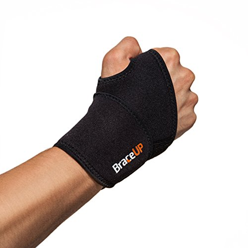 Adjustable Wrist Wraps by BraceUP for Men and Women - Workouts Wrist Band, Carpal Tunnel Compression Wrist Brace, Tendonitis Wrist Splint, Left Right Hand One Size Adjustable (Black)