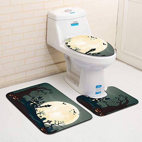 WDDGPZYD WC-Matte 3 Pcs Motif De Lanterne Tapis De Toilette Ensemble Antidérapant Tapis pour Salle De Bains Et Toilettes Piédestal Couvercle Couvercle De Toilette Tapis De Bain