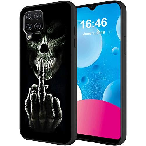 Kompatibel mit Samsung Galaxy A12 5G Hülle, weiches flüssiges Silikon-Mikrofaserfutter, kratzfest, stoßfest, Schutzhülle für Samsung A12 16,5 cm, Totenkopf-Finger-Schwarz