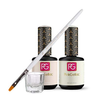 Pink Gellac French Maniküre Set 101 Soft White & 121 French Shellac UV/LED Gel Nagellack 30 ml (2x 15ml) Nail Polish