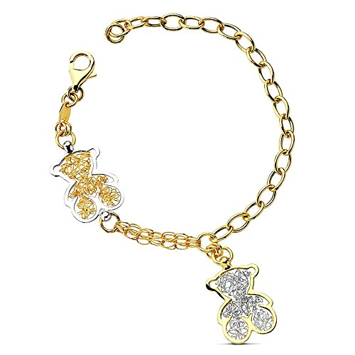 Goldarmband bicolor 19cm Teddybären