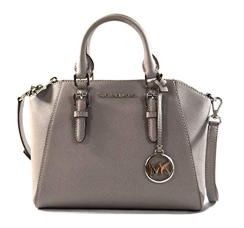 Michael Kors Ciara Medium Saffiano Leather Messenger Crossbody Bag Purse Handbag (Pearl Grey)