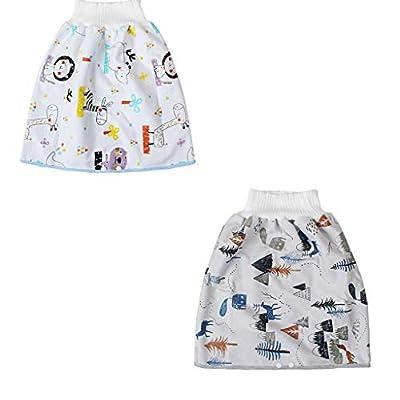FatCat Wall Graphics 2PC Comfy Children Cartoon Diaper Cloth Skirt Cartoon Reusable Waterproof Absorbent Diaper Shorts (Tree Zebra 2PC, L)