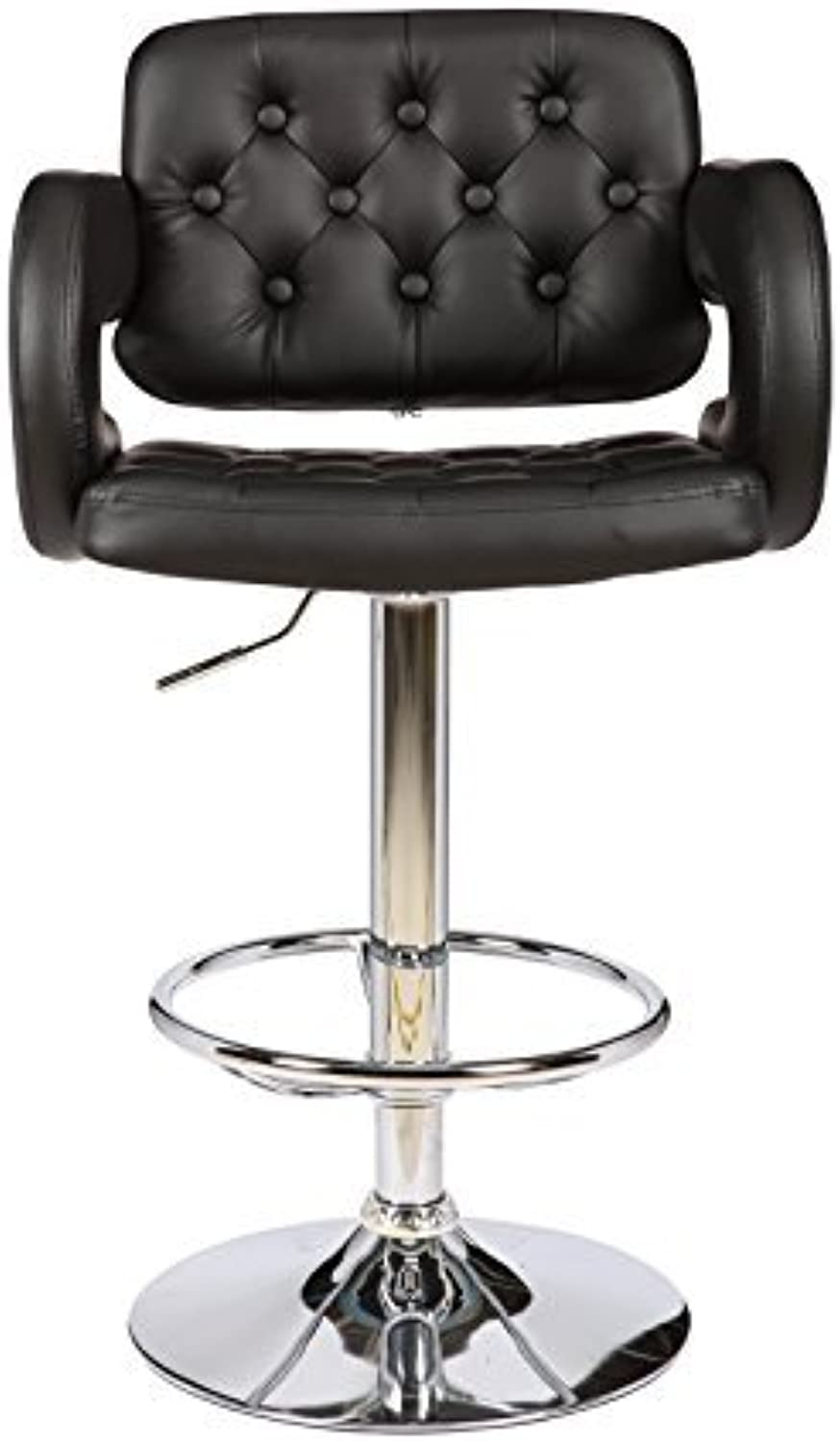 ViscoLogic Series WESTMINSTER 22 inch Wide, Height Adjustable Leatherette 360 Swivel 24 to 33 inch Bar Stool with Button Tufted Quilted Upholstered High Backrest and High Armrests, Chrome Pole & Wide Base, Hard Plastic Floor predection Installed in Bar St