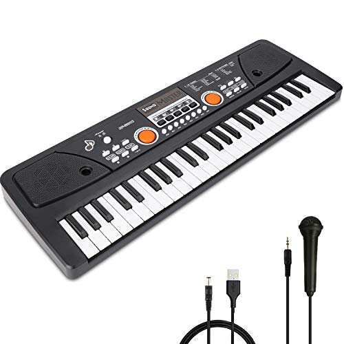 RenFox 49 Key Kids Piano Keyboard with Microphone Portable Kids Keyboard Piano Beginner Electric Music Keyboard Piano Teaching Toy Gift for Kids Boy Girl