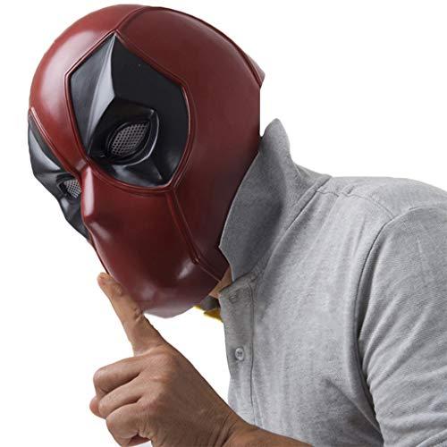 QWEASZER X-Men Deadpool Vollmaske PVC Helm, Film Cosplay Kostüm Zubehör, Halloween Maske Helm für Erwachsene Männer Kostüm,Red-56~62cm