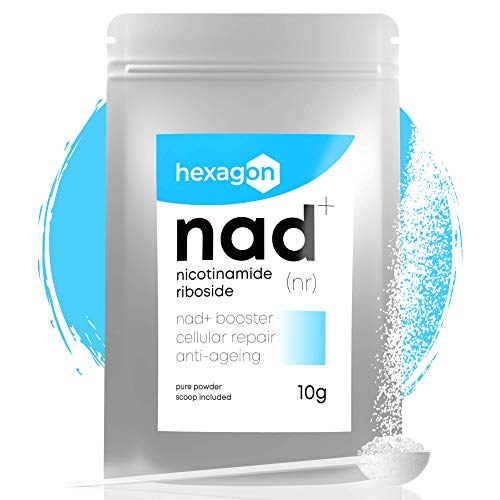 NAD+ Nicotinamide Riboside Chloride • Against Ageing & Tiredness, NAD Booster • +1 Month's Supply, Pure Powder 10 Grams • Hexagon