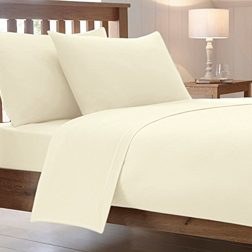 "25 Cm / 10"" Inch Fitted Bed Sheets Combed Poly Cotton Non Iron Easy Care Percale Plain Soft Sheet Bedding (White, Double)"