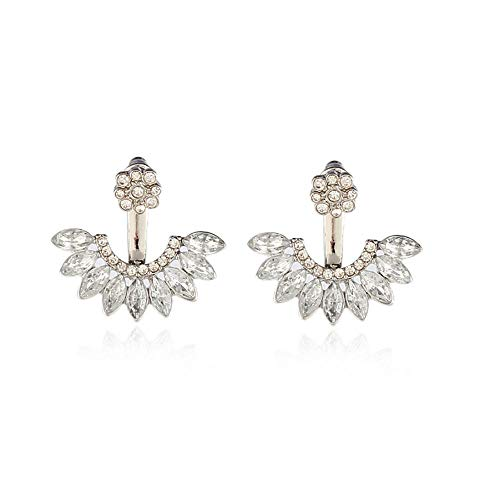 Pendientes de diamante de imitación para mujer, con forma de abanico, ojo de caballo, diamantes de imitación, joyería de oreja de aleación de galvanoplastia-A