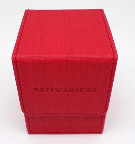 docsmagic.de Premium Magnetic Flip Box (100) Red + Deck Divider - MTG PKM YGO - Kartenbox Rot